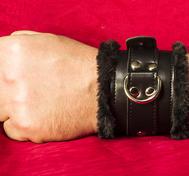 Schwarz abschließbar Handschellen mit Kunstpelz